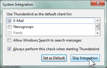Thunderbird skip integration