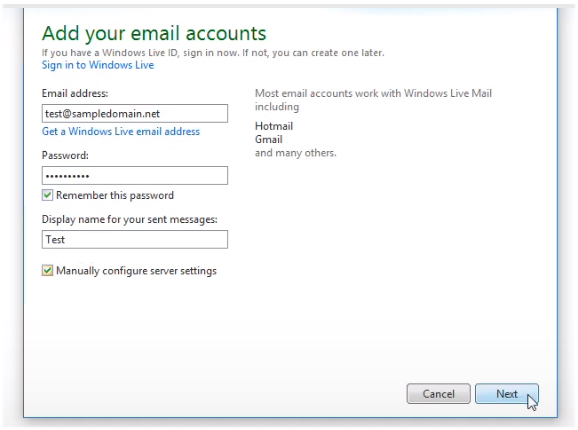 account settings Windows Live Mail