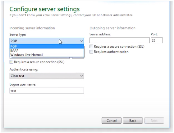 configure serer settings Windows Live Mail
