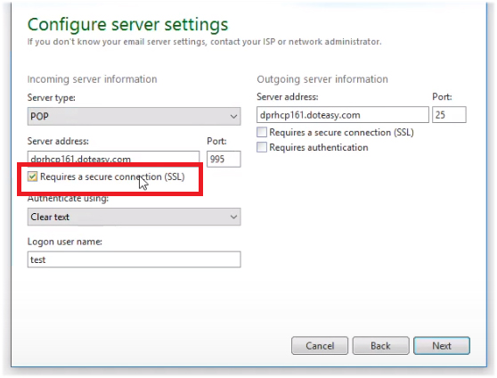 incoming server SSL Windows Live Mail