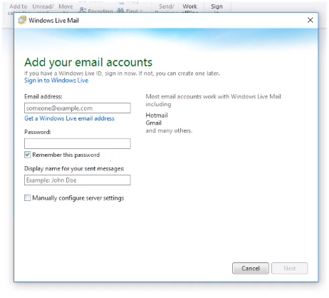 New Account Windows Live Mail