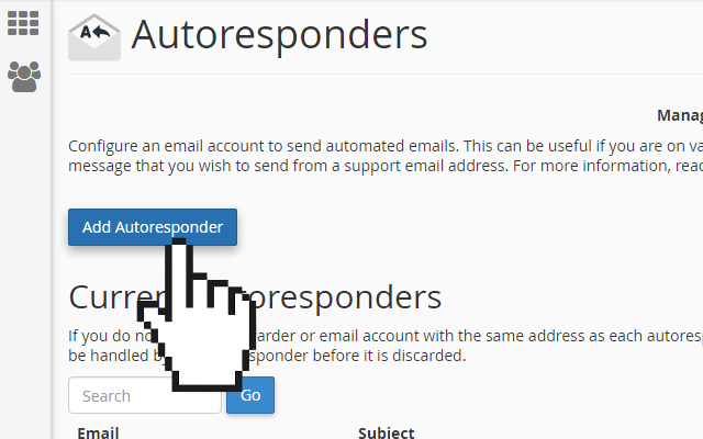 cPanel email add autoresponders
