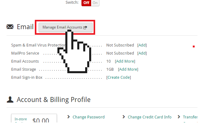 Doteasy manage email accounts