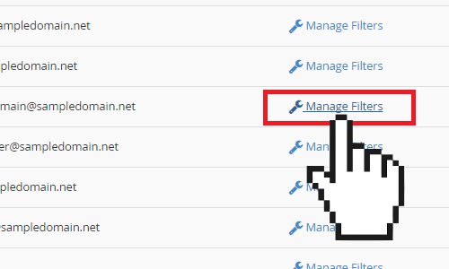 cPanel manage filter