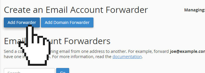 cPanel add email forwarder