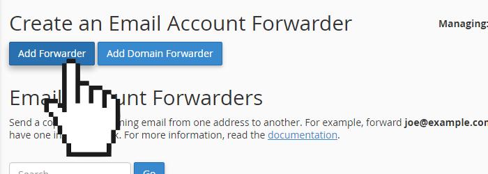 cPanel add email forwarder