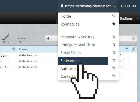 roundcube email forwarder