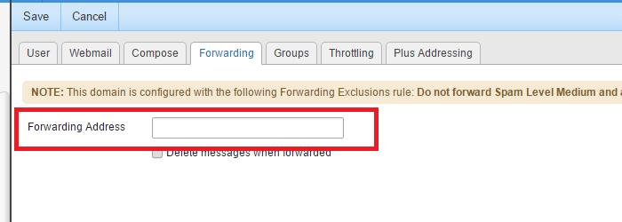 SmarterMail forwarding email address