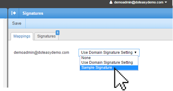 Smartermail assigning signature