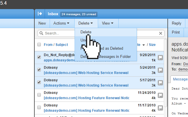 Doteasy smartermail delete selected email