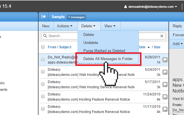 Doteasy Smartermail delete all messages