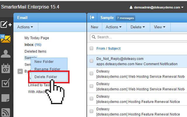 Doteasy Smartermail delete folder