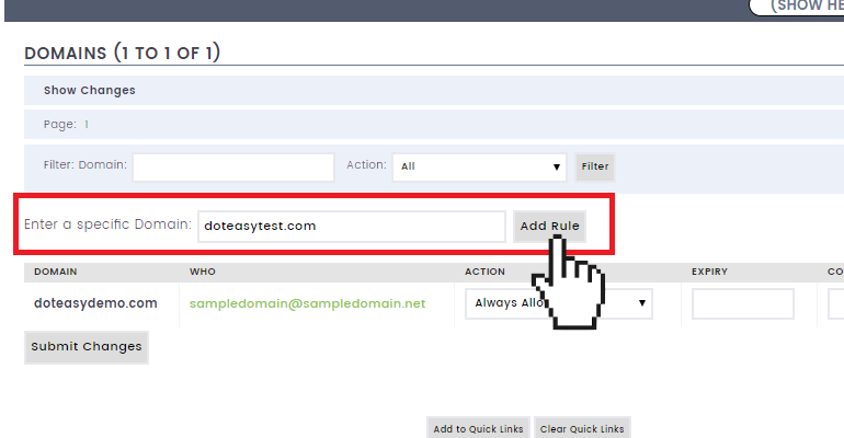 Doteasy email protection system adding domain rules