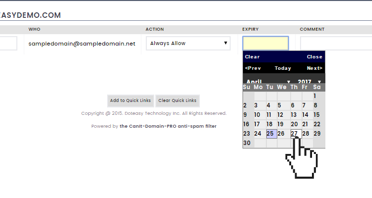 Doteasy email protection system action rule expiry date