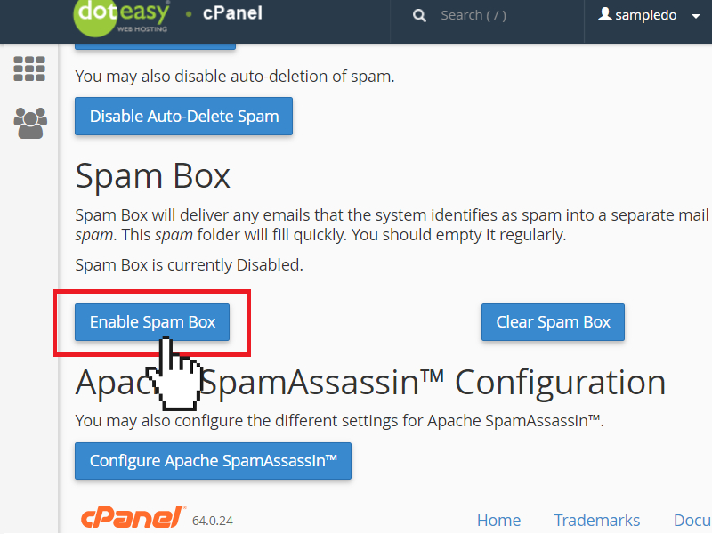 enable spam box in SpamAssassin