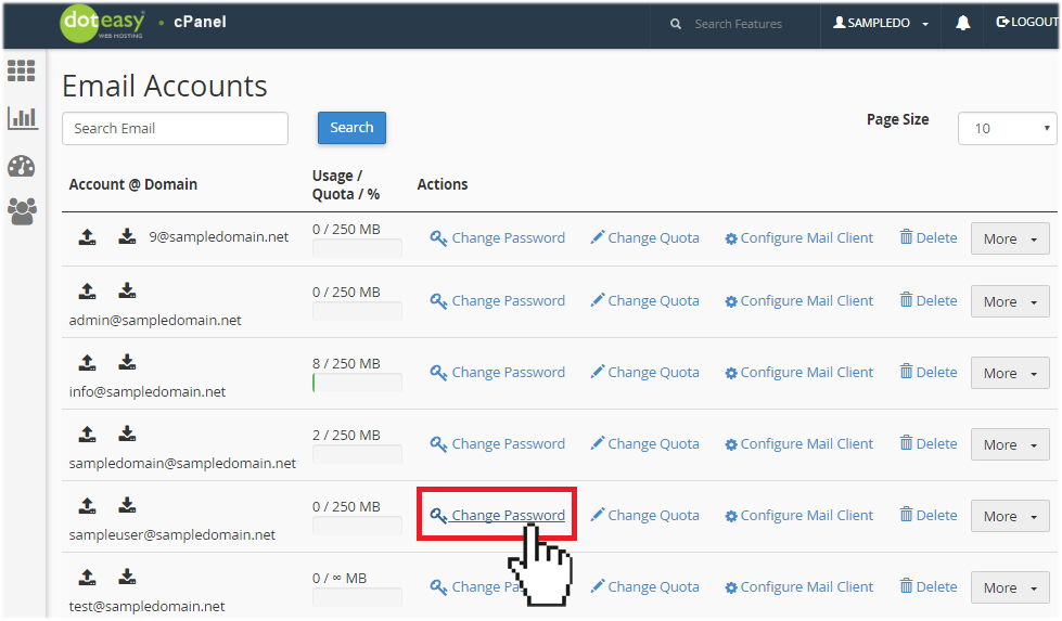 cPanel email account change password