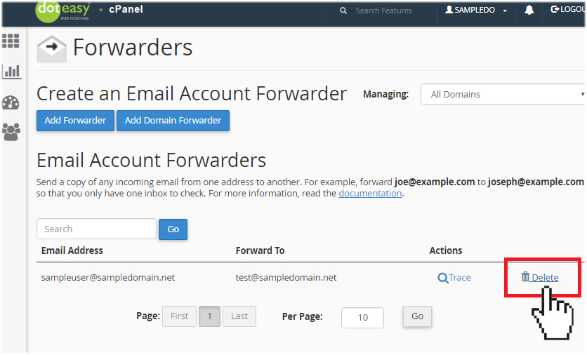 cPanel email forwarder delete