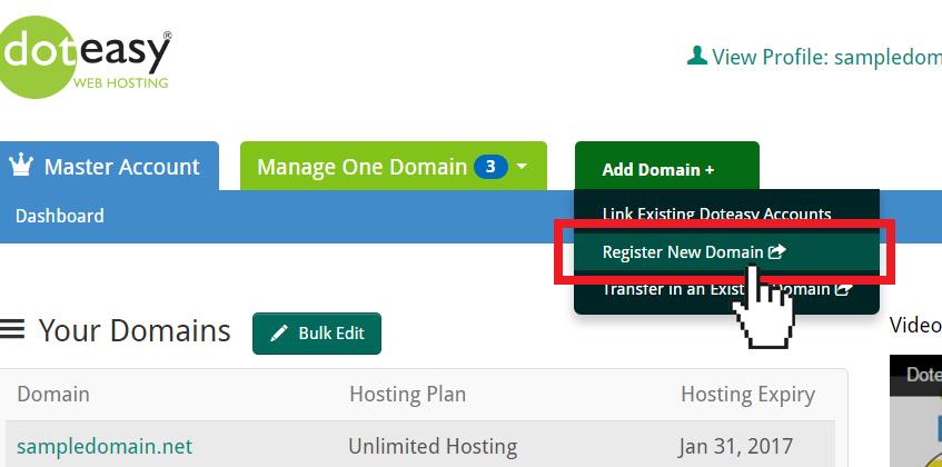 Doteas Master Account add domain