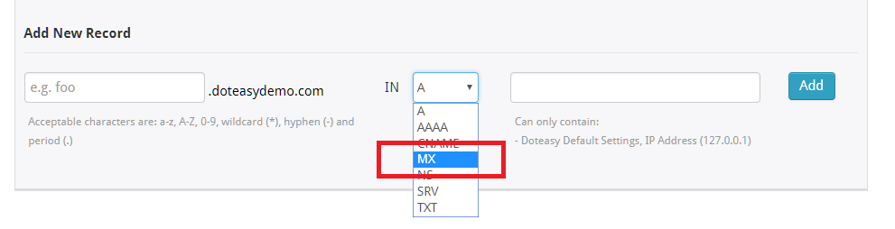 adding MX record in details