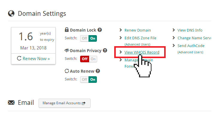 Doteasy Member Zone View WHOIS Record