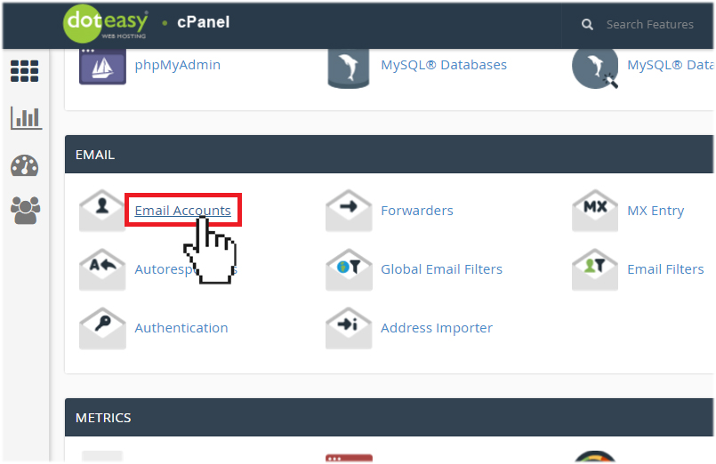 cPanel create email accounts