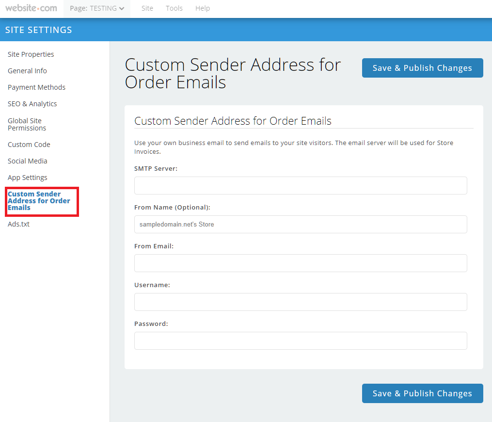 custom sender address for order emails