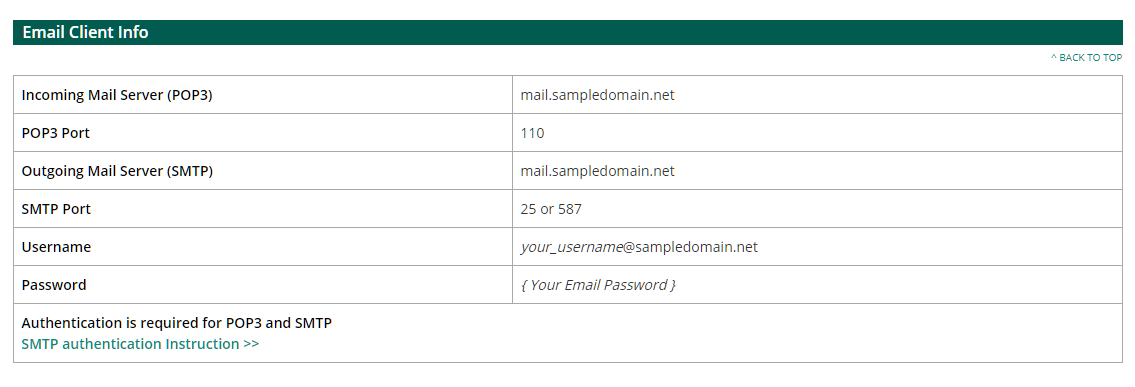 email client info
