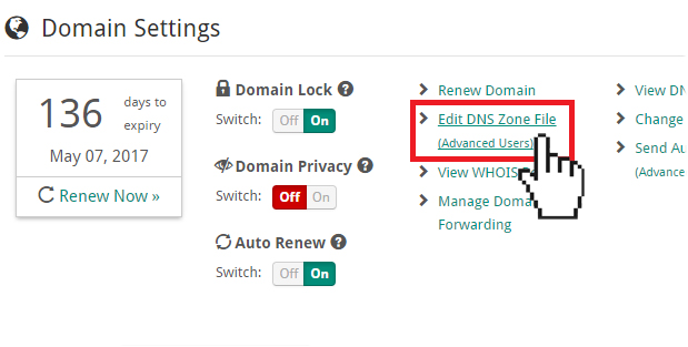 Doteasy edit DNS Zone file