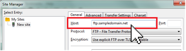 FileZilla Host field