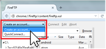 create an account fireFTP