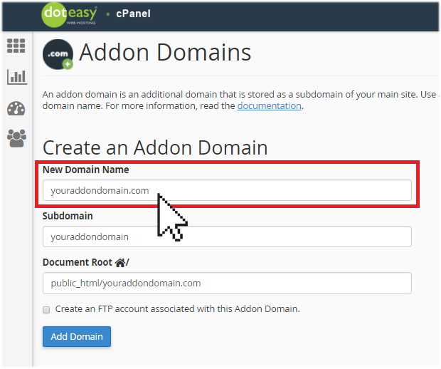 create addon domain cpanel