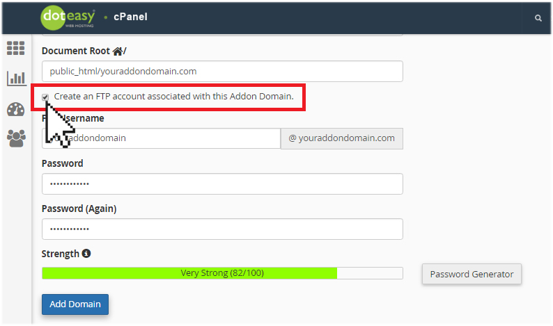 create FTP for addon domain