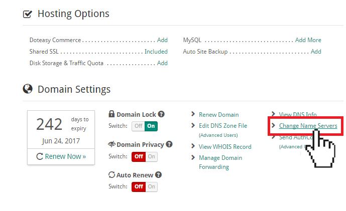 add-on domain change name server