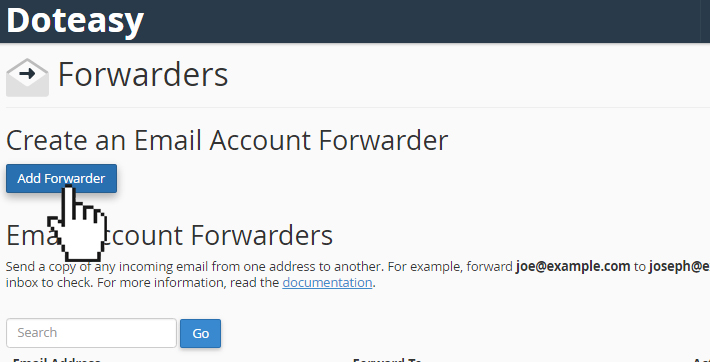 webmail add forwarder