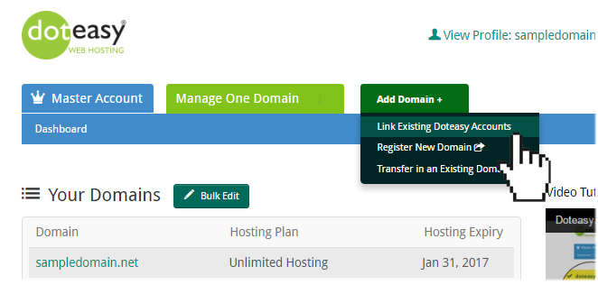 Adding Domain to Master Account