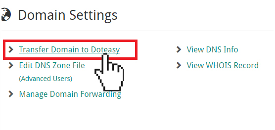 Doteasy Member Zone Transfer Domain to Doteasy