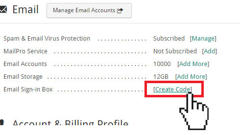 create email sign in box