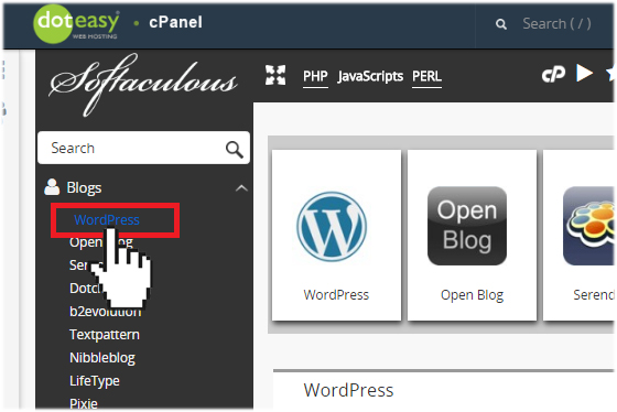 Softaculous WordPress install