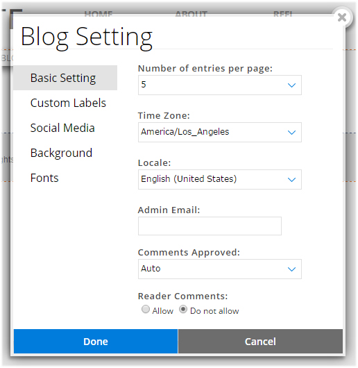website.com blog settings