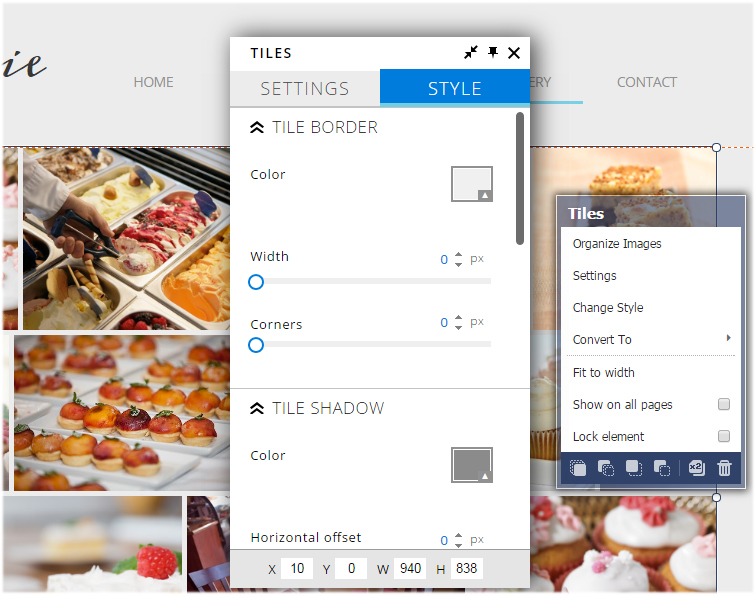 tiles image gallery style