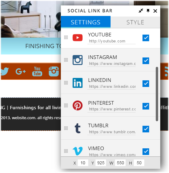 website.com social link bar