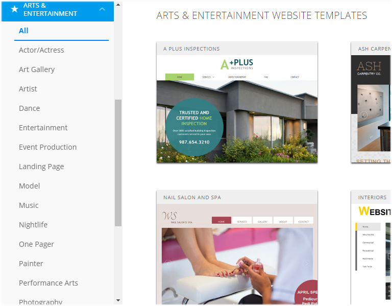 website.com arts templates