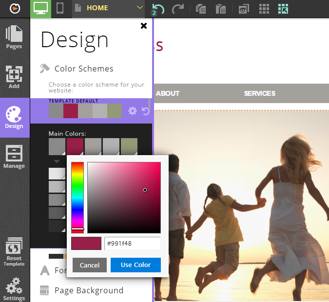 customizing a color palette