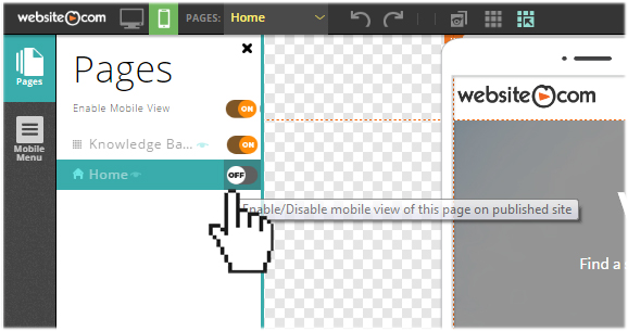 mobile editor enable page