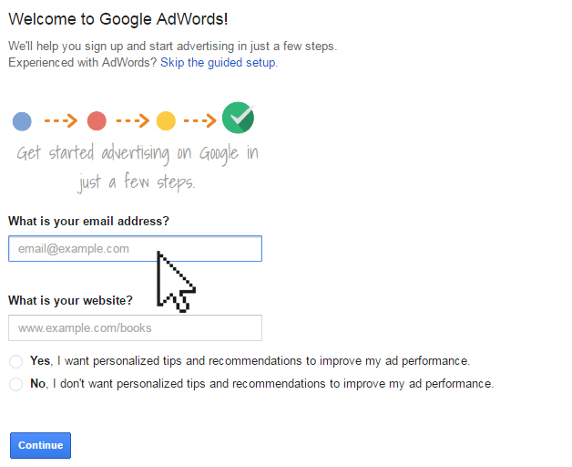 Entering email address into Google AdWords