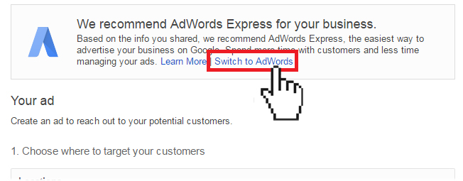Switch to AdWords Express