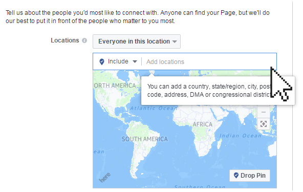 Facebook page setting location