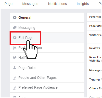 Facebook edit page settings