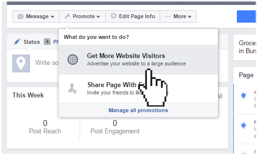 Facebook promote feature