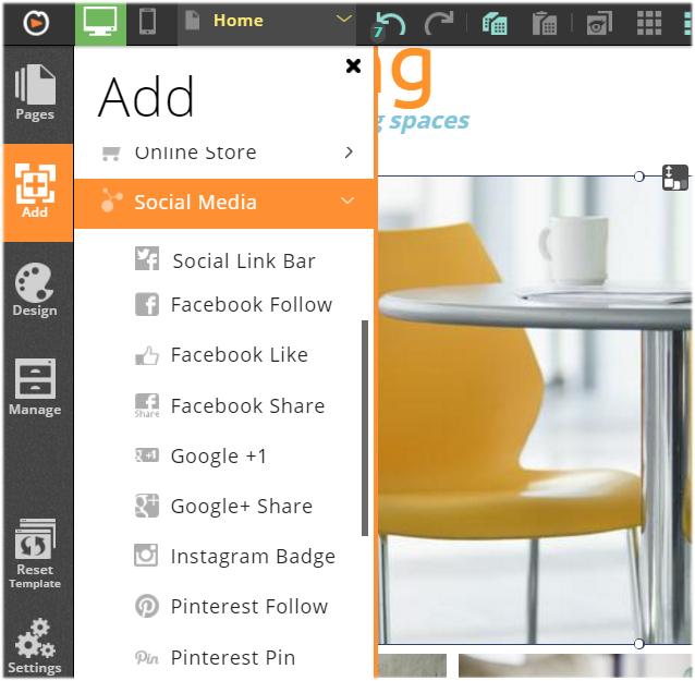 website.com adding social link bar